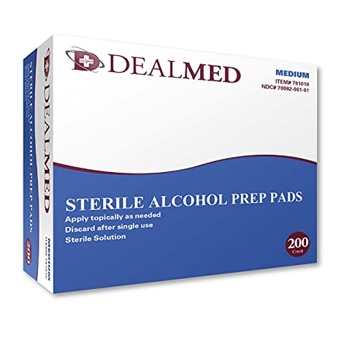 Dealmed Sterile Alcohol Prep Pads With Antiseptic Latex Free Wipes