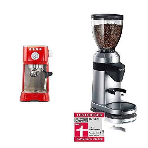 Solis Espressomaschine, Manometer, Dampf- und Heißwasserfunktion, PID-Temperaturregler, 54 mm Siebträger mit Doppelauslauf, 15 bar, 1,7 l Wassertank & Graef Kaffeemühle CM 800
