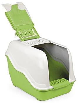 Toilette pour chats XXL Netta Maxi - Blanc vert - Spécial pour les grands chats de race
