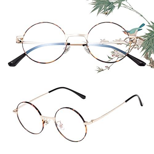 老眼鏡 丸メガネ 正円 軽い ブルーライトカット チタン合金 ケース付き ユニセックス メンズ レディース リーディンググラス 度付き ベッコウ 度数+200 L8313