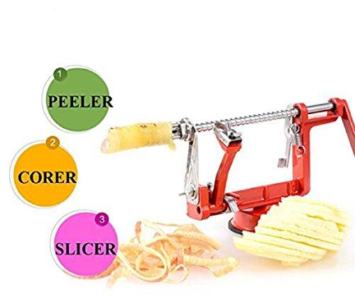 Enshey 3 in 1 Apple Peeler - Corer - Slicer Machine Stainless Steel Apple Slinky Potato Peeler Fruit Cutter Slicer Apple Peeling Machine Potatoes and Pears Spiral Slicer with Vacuum Base, Red