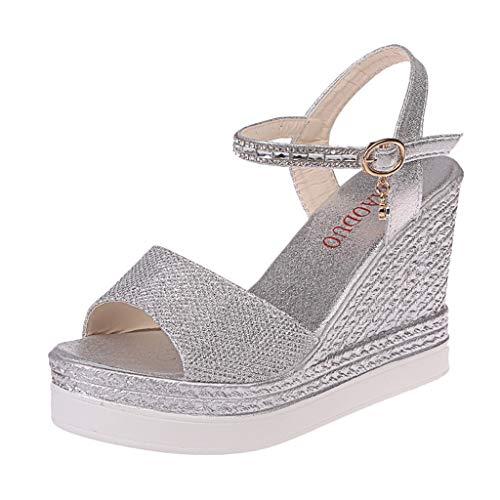 Luckycat Sandalias de Vestir Tacón para Mujer Plataforma Verano 2019 Casual Zapatos con Puntera Abierta de Cara Brillante Zapatos Tacón Bajo Cómodo Correa de Hebilla