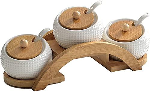 Caja de condimentos de cerámica de tapa de bambú, contenedor de sal de sal 3 PCS Frascos de especias, tarros de especias de porcelana blanca con cucharas y tapas de bambú, caja de especias para cocina