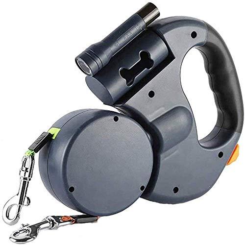 BLC Doppelleine fur Zwei Hunde, Doppelleine, Die Einstellbare 360°-Drehung Ohne Verwicklungen mit Reflektierenden Streifen, Taschenlampe und Beutelspender