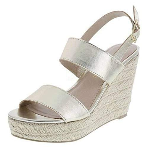 Montego Bay Womens Whimsy Espadrille Woven Wedge Platform Sandals Shoes (9, Gold)