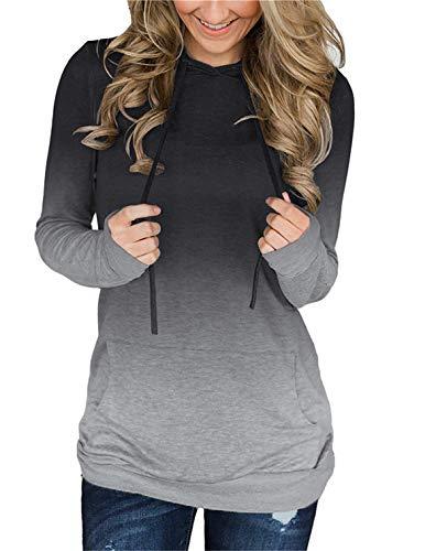 onlypuff Tunci Sweatshirt Women Tie Dye Shirts Ombre Casual Tunic Tops Long Sleeve Gray M