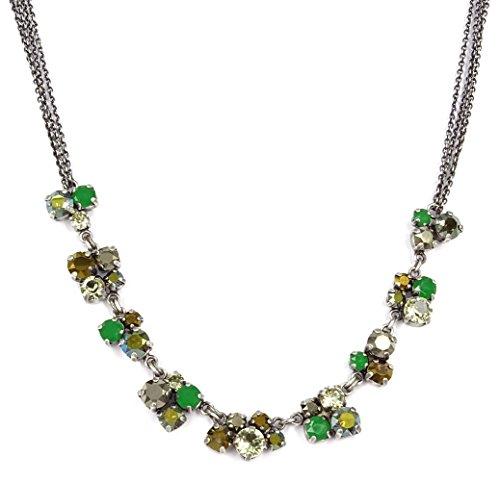 Konplott: Collier Ballroom green/brown, aufwendiges Collier mit zwei Erbskette und Kristallen in oliv-grün-braun, für Damen/Frauen