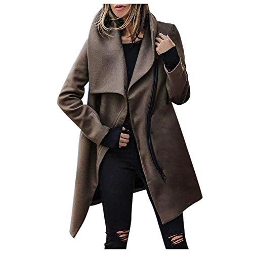Chaquetas De Moda De Invierno De Otoño 2020 para Mujer, Abrigos Sueltos De Cuero De Imitación, Abrigo De Color Sólido con Solapa, Abrigos con Cuello Vuelto De Talla Grande