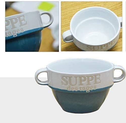 DRULINE 4 Stück Suppentasse aus Keramik mit Schriftzug Suppe des Tages Ø 13 cm Blau