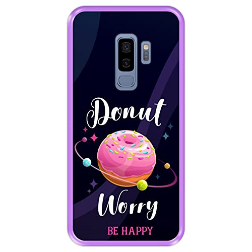 Funda Morada para [ Samsung Galaxy S9+ - S9 Plus ] diseño [ Buñuelo Divertido - Donut Worry, be Happy ] Carcasa Silicona Flexible TPU