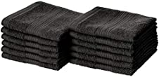Amazon Basics Fade-Resistant Cotton Washcloth - 12-Pack, Black