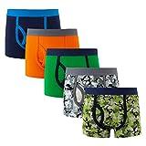 YOUNGSOUL Jungen Boxershorts Camouflage 5er Pack Sport Unterwäsche Kinder Baumwolle Unterhosen Modell 3, 8-9 Jahre/134-140