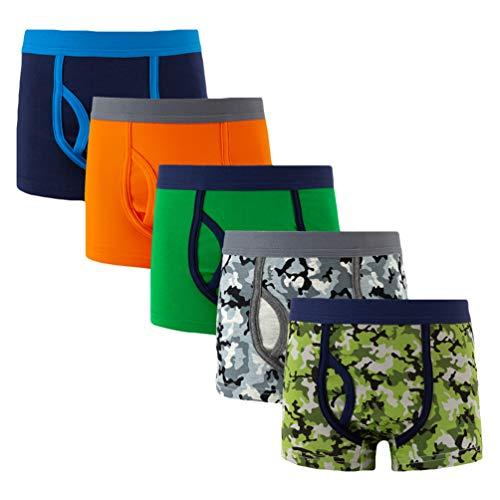 YOUNGSOUL Jungen Boxershorts Camouflage 5er Pack Sport Unterwäsche Kinder Baumwolle Unterhosen Modell 3, 10-12 Jahre/146-152