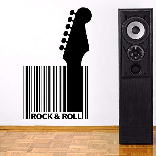 JXNY Musik Wandtattoo Vinyl Gitarre Barcode abnehmbare Rock Style Wandaufkleber Musik Bar Design Wandmalerei Vinyl Art63x102cm