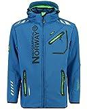 Geographical Norway - Chaqueta Rainman Turbo-Dry para hombre con tejido softshell y capucha azul M