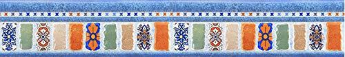 Cenefas Adhesivas Cocina De Friso Papel Para Paredes DecoracióN De Pared De Cocina, BañO,Pvc Cenefa Autoadhesiva Para DecoracióN Azul vintage 10cm X 300CM