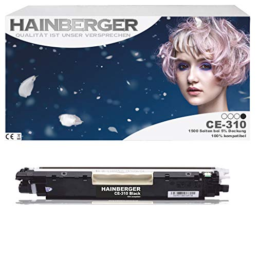 Hainberger Black Toner kompatibel zu HP CE310a für HP LaserJet Pro 100 Color MFP M175, Pro M275, Color LaserJet Pro CP1021, CP1025, CP1028 - CE310A-CE313A - Schwarz 1.200 Seiten, Color je 1.000 Seiten
