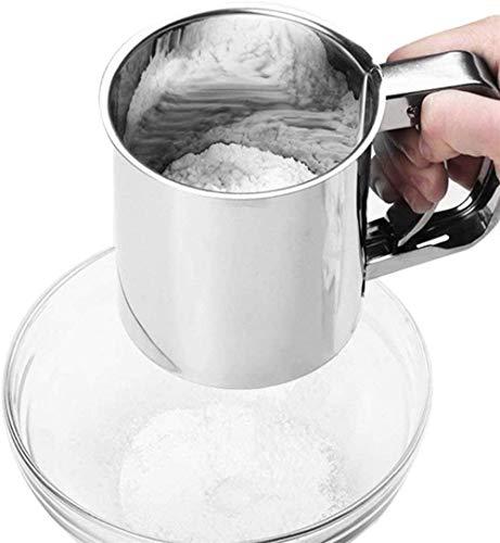 CXING Tamiz de harina de mano, herramienta de tamiz de azúcar de acero inoxidable con asa para cocinar y decorar pasteles, magdalenas, utensilios de cocina (13 cm x 13 cm x 33 cm)