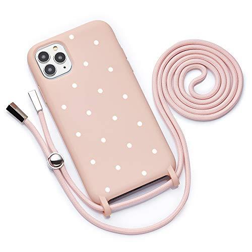 QULT Funda con Cuerda Compatible con iPhone 12 Pro MAX Carcasa de movil con Colgante Cadena Suave Silicona Necklace Bumper Case Rosa Pastel Motivo Puntos Blancos