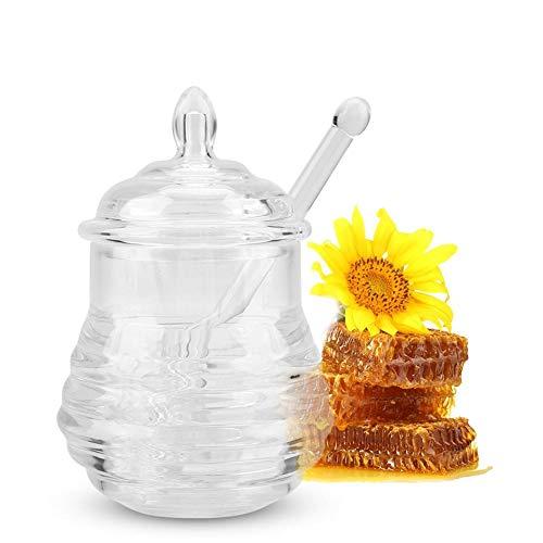 Honingpot, 245 ml Transparante honingsiroopketel in de vorm van een bijenkorf voor het bewaren en verspreiden van honing