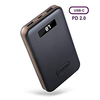imuto Portable Phone Charger 10000mAh Power Bank with LCD Display, USB C PD 18W QC 3.0 External Battery Charger, Fast Charge for iPhone 11 Pro XS XR, Samsung S10, Nintendo Switch, iPad Pro & More