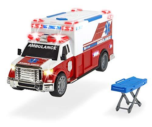 Dickie Toys Ambulanzfahrzeug, Rettungswagen, motor. Spielzeugauto mit Trage, Heckklappe zum Öffnen, Licht & Sound, inkl. Batterien, 33 cm, ab 3 Jahren