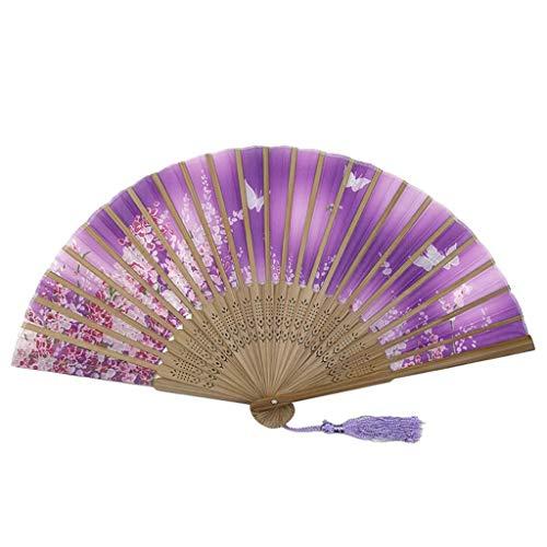 Andouy Retro Faltfächer/Handfächer/Papierfächer/Federfächer/Sandelholz Fan/Bambusfächer für Hochzeit, Party, Tanzen(21cm.Lila-Quaste)