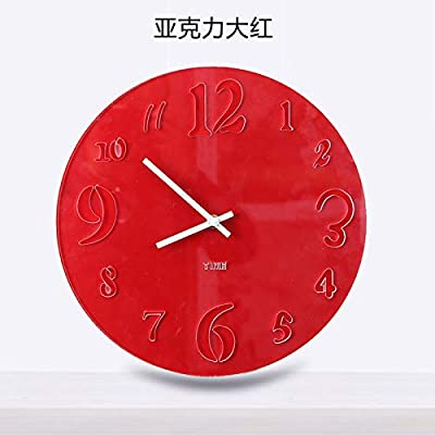DALIANGE Wall Clock Wall Clock Acrylic Wall Clock Continental Simple Large Circular Mute, Acrylic Round