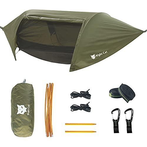 Night Cat Camping Hängematten mit Moskitonetz Zelt und Regenfliege für Eine Person Wasserdicht Atmungsaktiv zum Wandern Angeln im Freien Garten