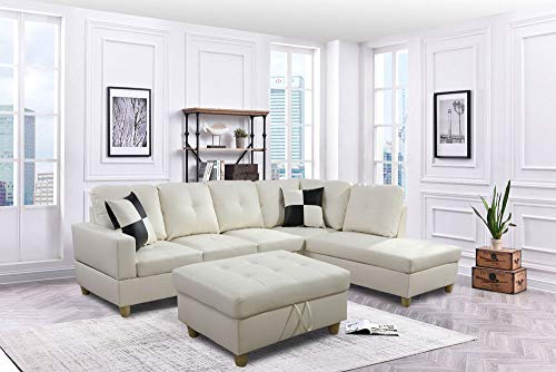 LifeStyle Furniture Left Facing 3PC Sectional Sofa Set Faux PU Leathe with Storage mats and 2 Pillows Smooth and Soft Couch Sets