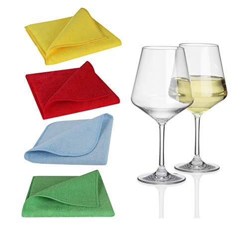 Moritz - Juego de 10 copas de vino blanco de policarbonato, 290 ml, transparente + 1 paño de microfibra, juego de 4 colores, vasos de camping de plástico para agua, vino, cóctel, cocina de camping