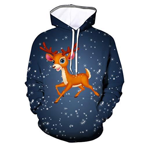 HEETEY Mens 3D Printed Weihnachten Pullover Langarm Kapuzenpullover Tops Bluse Weihnachten Pullover Jumper Xmas Sweater Shirt Weihnachtspullover Weihnachtsbaum Weatjacke Pullover