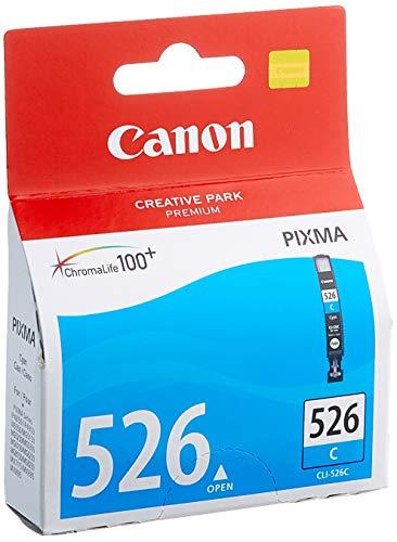 Canon CLI-526 C Cartucho de tinta original Cian para Impresora de Inyeccion de tinta Pixma MX715-MX885-MX895-MG5150-MG5250-MG5350-MG6150-MG6250-MG8150-MG8250-iP4850-iP4950-iX6550