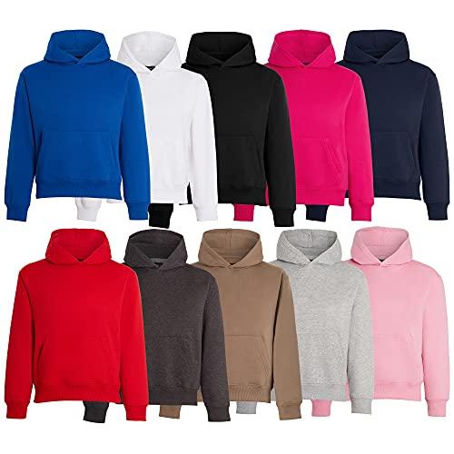 Unisex Boys Girls Plain Pullover Hoodies Without Zip Boys Sweatshirt Hooded Top Jumper School Wear Hoodies UK Size 5 13 Years Charcoal 5years