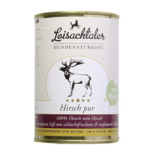Loisachtaler Hundefutter Nassfutter Naturkost Hirsch pur 400g (6 x 400g)