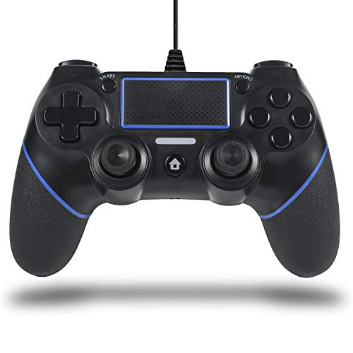 Sefitopher PS4 Wired Controller for Playstation 4/pro/Slim/PC/Laptop with Functions Such as Vibration, Colored LED Indicator, Double Vibration and Anti Slip Grip,6.5ft Cable Length (Blue)