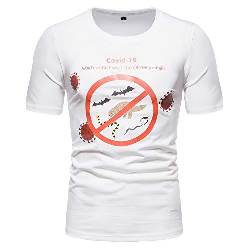 Maglietta a maniche corte da uomo con collo rotondo, al di fuori della nuova maglia Crown Pathogen COVID-19 con stampa camicia a mezze maniche bianco M