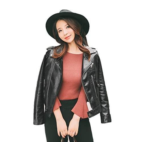 SYOKYOレディース レザージャケットレザージャケット女性 フェイクレザーバイカーブルゾン ライダースジャケット (S, ブラック)