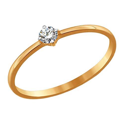 SOKOLOV Jewelry schmaler 585 Gold Damen Ring mit Zirkonia Stein I feiner Ring Damen Verlobungsring Gold I Exklusiver Ehering I Designer Damen-Schmuck I zarter Rot-Goldring mit Zirkonia (17)