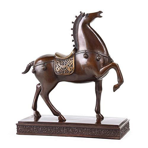 LUCKY-SCUL Pferdeskulptur, Geschenk,Statue aus reinem Kupfer,Glücksschmuck,Arbeitszimmer/Büro,Desktop-Sammlung,Wohnkultur,Tierskulptur (15 x 5,5 x 16 cm),B