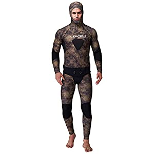 LayaTone Wetsuit Men Premium 5mm Super Stretch Camouflage Neoprene Spearfishing Scuba Diving Suit for Adults Two Piece Fullsuit Freediving Jumpsuit Fishing Snorkeling Wetsuits