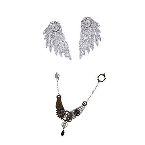 IPOTCH Steampunk Gear Jewelry Angel Wings Earrings Necklace Conjuntos De Cadena para Mujeres