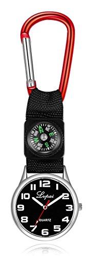 Black Nylon Strap Quartz Sports Boy Girls Kids Watch Unisex Novelty Belt Fob/Keychain Nurses Watch (Red)