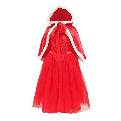 Cuteelf Kinder ärmellose Weihnachten Kapuzen Cape Cape + Kleid Kleid Mädchen Kinderkleidung Weihnachten Kleid Spitze Prinzessin Party Cosplay Kleid Set