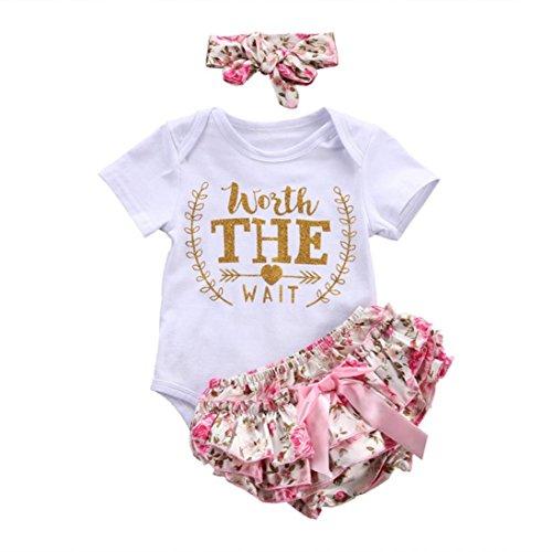 Counjunto de Ropa bebé niña Verano Recién Nacido bebé niñas Carta Floral Monos Verano Mameluco Tops y Pantalones Cortos Ropa Conjunto (Blanco, Tamaño:0-3Mes)