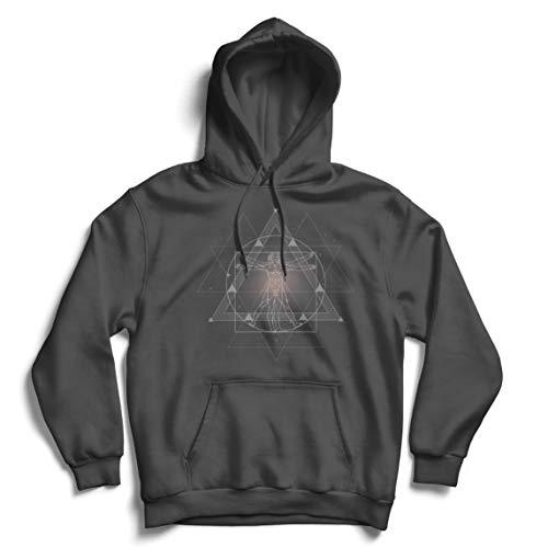 lepni.me Sweatshirt à Capuche Manches Longues Le Divin Homme de Vitruve Léonard de Vinci Géométrie sacrée (L Graphite Multicolore)