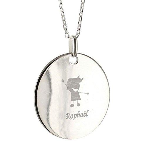 Amikado - Colgante de silueta infantil de plata maciza personalizada y cadena de plata