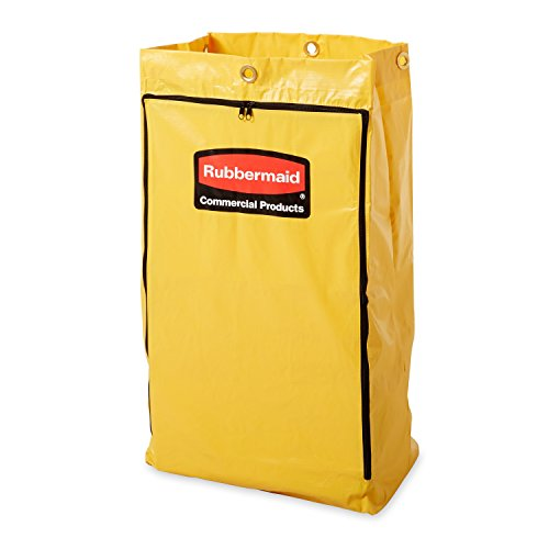 "Rubbermaid FG618300 Vinyl Replacement Bag with Zipper for Cleaning Cart, 17.25"" Length, 10.50"" Width, 30.50"" Height, Yellow"