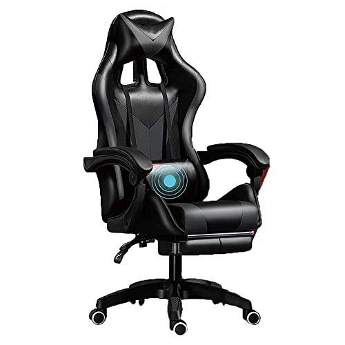 NCBH Gaming-Stuhl für Erwachsene, Office-Rennstuhl mit Fußstütze, ergonomisches Design, Verstellbarer, drehbarer Leder-Renncomputer-Schreibtischstuhl,Black and Gray,Nylon feet