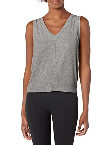 Calvin Klein Performance Damen V-Neck TIE Back Tank T-Shirt, Pearl Grey Heather, Groß